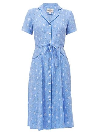 HVN Hvn - Maria Flamingo Print Silk Shirt Dress - Womens - Blue