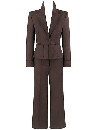8d611996c3d Saint Laurent S/s 2003 Ysl 2 Pc Olive Brown Peplum Blazer Pants Power Suit