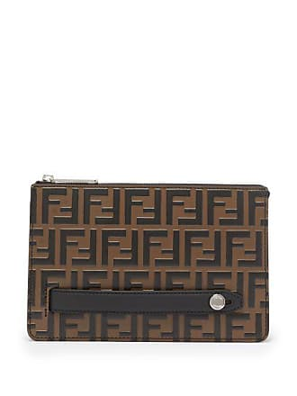 Fendi Logo Embossed Leather Pouch - Mens - Brown 0c6fc2f73cfa8
