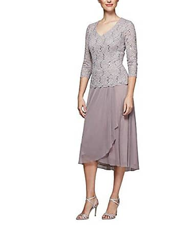Alex Evenings Womens Tea Length Dress with Sleeves (Petite and Regular Sizes), Rose, 6
