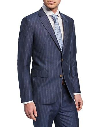 Neiman Marcus Mens Striped Linen Two-Piece Trim-Fit Suit, Blue