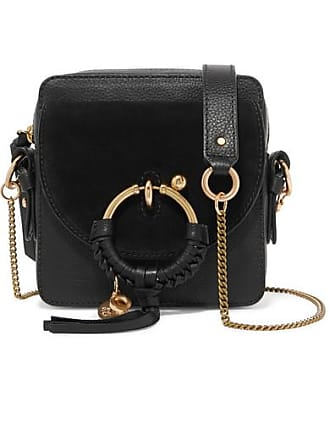See By Chloé Square Textured-leather And Suede Shoulder Bag - Black