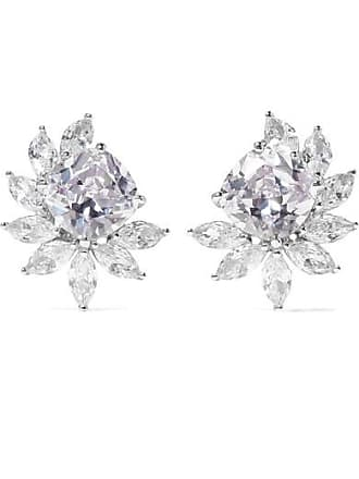 Kenneth Jay Lane Rhodium-plated Cubic Zirconia Clip Earrings - Silver