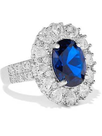 Kenneth Jay Lane Cz By Kenneth Jay Lane Woman Silver-tone Crystal Ring Bright Blue Size 6