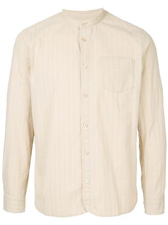 Kent & Curwen striped collarless shirt - Brown