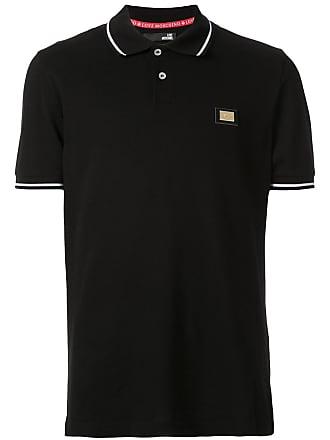 Love Moschino Camisa polo metalizada com logo - Preto