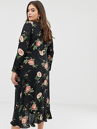 ca7f320190d53 Fashion Union Plus wrap midi dress in oversize floral - Black