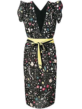 Elisabetta Franchi floral-print cap sleeve dress - Black