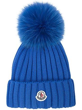 Moncler pompom embellished logo beanie - Blue 67e5355370
