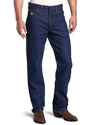 Wrangler Mens Big Flame Resistant Relaxed Fit Jean, Blue, 44x32