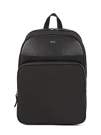 BOSS Structured-nylon backpack with calf-leather trims