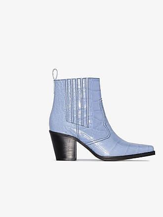 Ganni blue Callie 70 crocodile-embossed leather ankle boots