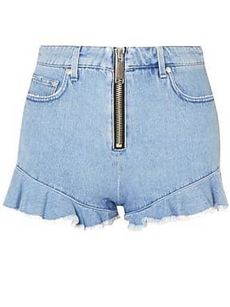 df15f335f6 Msgm Msgm Woman Zip-detailed Ruffle-trimmed Denim Shorts Light Denim Size 46