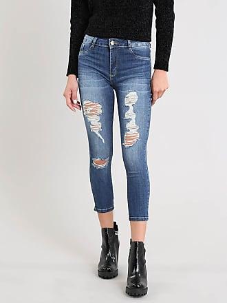 Sawary Calça Jeans Feminina Sawary Cropped Destroyed Azul Escuro