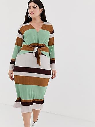 c5e31a2614d4 Asos Curve ASOS DESIGN Curve - Vestito midi a coste e righe stile anni 70  con