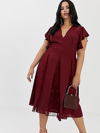 a8b9ab98361678 Asos Curve ASOS DESIGN Curve midi dress with lace godet panels - Red