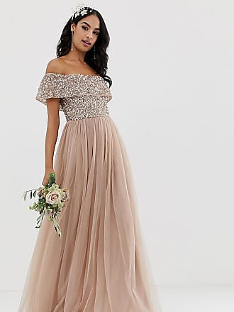 80cba8071a Maya Bridesmaid bardot maxi tulle dress with tonal delicate sequins in  taupe blush