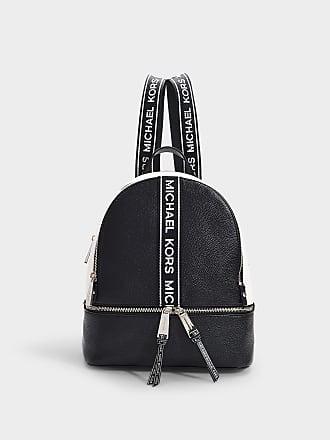 1b09f908e53d Michael Michael Kors Rhea Zip Medium Backpack in Black and Optic White  Grained Calfskin
