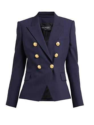 Balmain Double Breasted Wool Twill Blazer - Womens - Navy