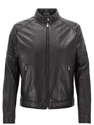 BOSS Regular-fit biker jacket in grained leather