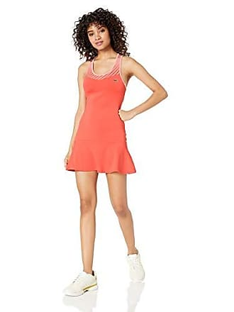 Lacoste Womens Technical Jersey Tennis Tank Dress, Mango Tree red/Bagatelle Pink, 6