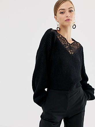 Y.A.S YAS chunky knit sweater with lace panel - Black