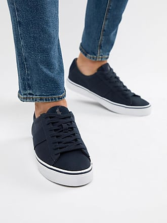 163c3d692b7 Polo Ralph Lauren sayer canvas trainers contrast logo in navy