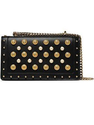 55ff4c6362fa Balmain Balmain Woman Embellished Leather Shoulder Bag Black Size