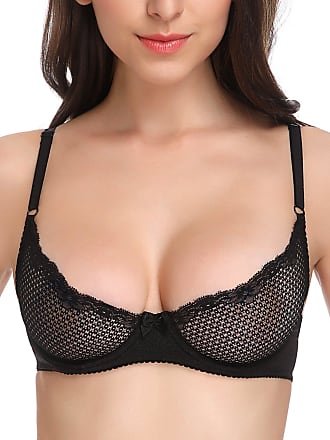 Wingslove Womens Sexy 1/2 Cup Lace Bra Soft Mesh Underwired Demi Bra Unlined See Through Bralette (Black 36DD)