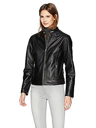 William Rast Womens Leather Moto Jacket, Black, XL
