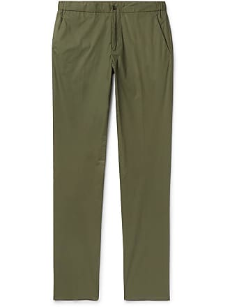 Incotex Slim-fit Stretch-cotton Poplin Drawstring Trousers - Army green