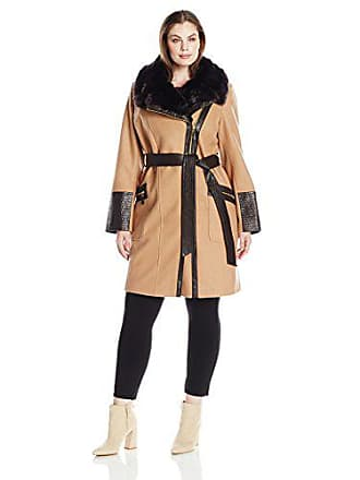 Via Spiga Womens Plus-Size Kate Mid-Length Belted Wool Assymetric Zip Front Coat with Fur Collar, Camel, 20W