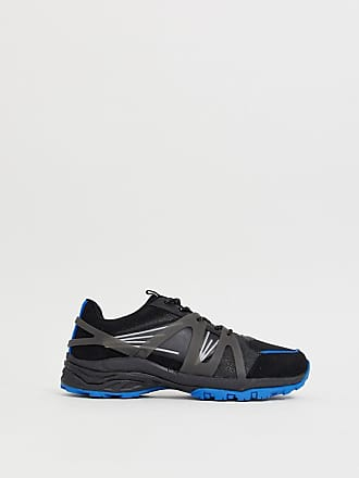 Asos dad sneakers in black mesh with blue color flash chunky sole - Blue