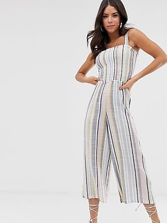 317708ca2ca New Look Petite New Look Tall shirred jumpsuit in multi stripe