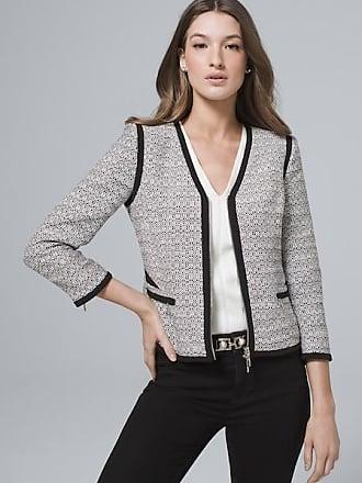 White House Black Market Womens Contrast Tweed Jacket by White House Black Market, Black/White, Size 14