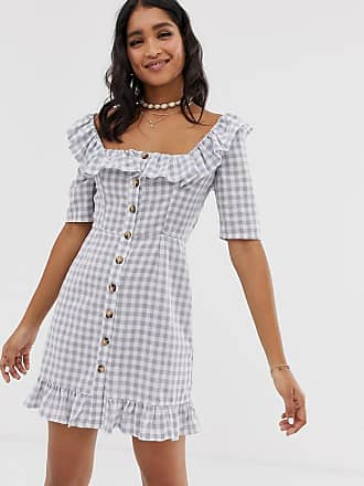 e7463fb209d Asos square neck gingham mini dress with button through and pephem - Multi