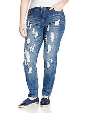 197ef9fa03d84 dollhouse Womens Plus Size Broom Light Wash Heavy Destructed Skinny Jean
