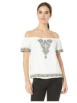 771b64adbb Miss Me Off the Shoulder Aztec Embroidered Top (Ivory White) Womens Clothing
