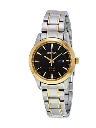 Seiko Core Solar Black Dial Two-tone Ladies Watch SUT166