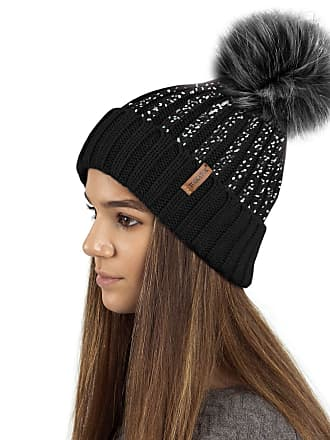13e372f97331 TOSKATOK Ladies Womens Girls Ribbed Knit Winter Beanie Bobble Hat with  Stylish Silver Gold Metallic Foil