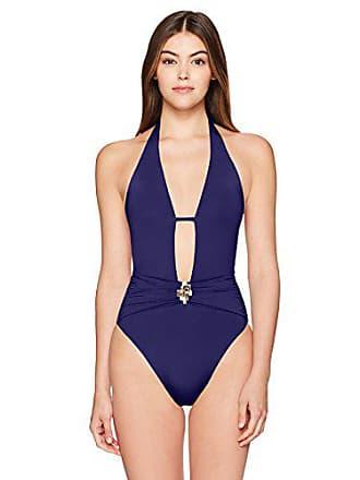 ebbf7db067 Trina Turk Womens V-Front Keyhole Halter One Piece Swimsuit, Navy/Midnight/