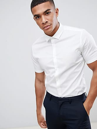 4d387dc513a1 Asos stretch slim formal work shirt with short sleeves in white