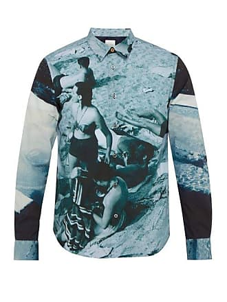 Paul Smith Photographic Beach Print Cotton Shirt - Mens - Blue
