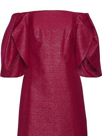 Halston Heritage Halston Heritage Woman Off-the-shoulder Metallic Cotton-blend Mini Dress Plum Size 2