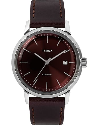 Timex Watch Mens Marlin Automatic 40MM Leather Strap Stainless Steel/burgundy/burgundy Item Tw2T23200Zv