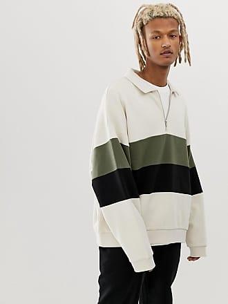 6e07fd9e04 Asos oversized sweatshirt with half zip harrington collar and color  blocking in beige - Beige