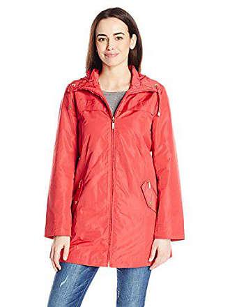 Ellen Tracy Outerwear Womens Packable Rain Coat, Rose, X-Large
