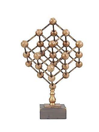 Sagebrook Home 12130 Metal Tabletop Sculpture, Gold & Wood Look Metal, 11 x 11 x 18.5 Inches