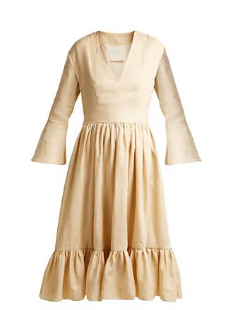 Loup Charmant Sea Island Bell Sleeve Linen Dress - Womens - Cream
