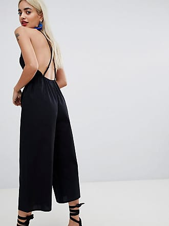 dfd75d5c8b Asos Petite ASOS DESIGN Petite cotton jumpsuit with cut out detail - Black